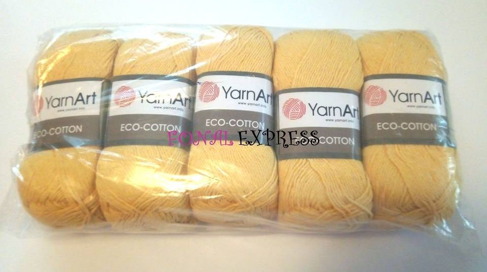 500 g 5 db YarnArt ECO-COTTON 85% pamut fonal. Tű 3,5-4 mm. Szín 764.