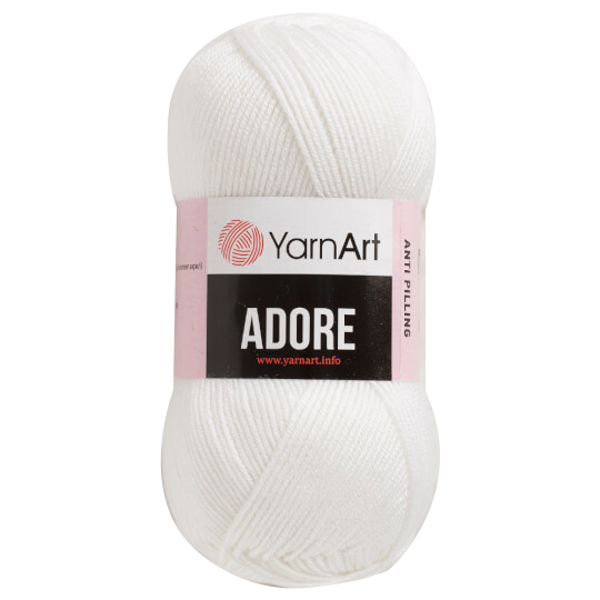 500 g 5 db YarnArt ADORE 100% anti pilling akril fonal. Tű 4 mm. Fehér Szín 330.